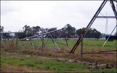 damaged pivot irrigation system